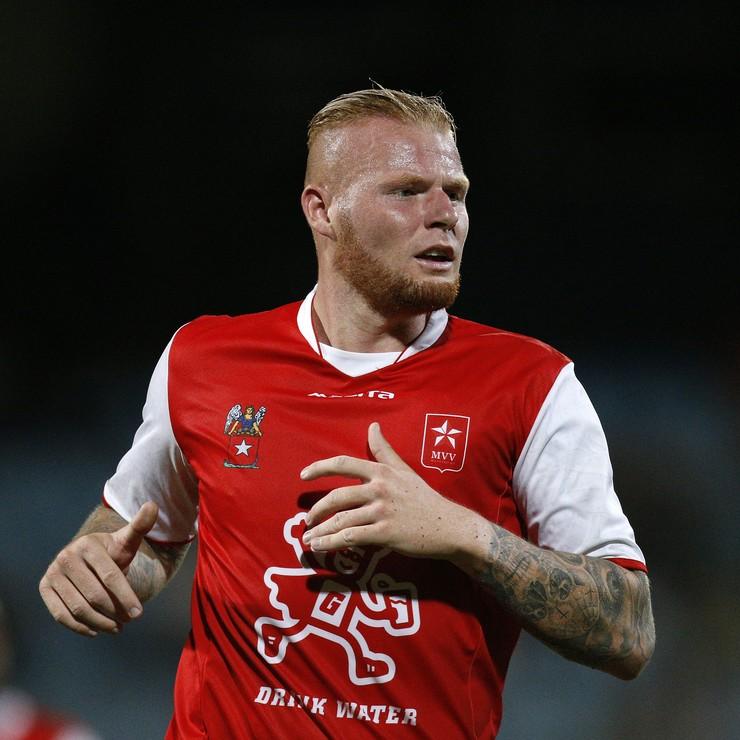 Thomas Verheydt is met twee goals belangrijk voor MVV tegen Fortuna Sittard. © Hollandse Hoogte.