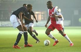 Sherwin Grot op weg naar de 1-0 in het KNVB-bekerduel met Kon. HFC van woensdag.